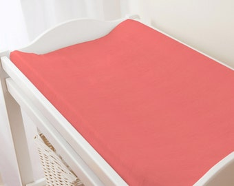 Carousel Designs Solid Coral Changing Pad Cover