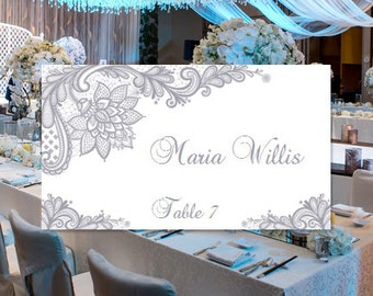 """Place Card Template """"Vintage Lace"""" Gray Word.doc Template Compat Avery 5302 Instant Download Order Any Color Make your Own You Print"""