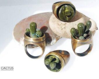 Cactus rings: handmade
