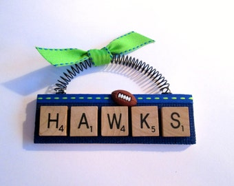 Hawks Seattle Seahawks Scrabble Tile Ornament
