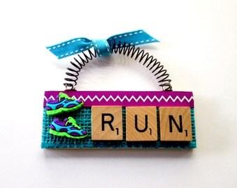 Run Running Shoes Scrabble Tile Ornament