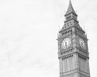 Big Ben London Photography, Fine Art Photography, Black and White, Living Room Art, Large Wall Art, England Photography