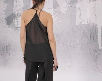 Halter Top, Tank top, Sleeveless top, black top, Linen blouse by UrbanMood - FP-KOKI-LN