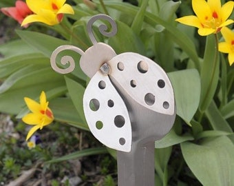 Lady Bug Planter Box Stake (Stainless Steel)