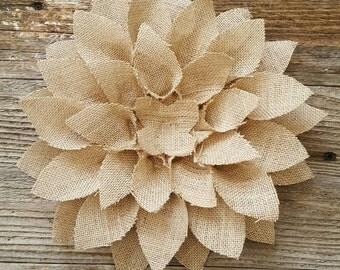 Arranged burlap flower