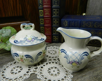 Vintage Mikasa Country Classics Romance Covered Sugar and Creamer