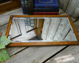 Antique Arts and Crafts Beveled Oak Wall Mirror