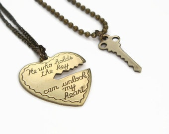 Key To My Heart Necklaces, Couples Necklace Set, He Who Holds The Key, His & Hers Jewelry, Mr Mrs Jewellery, Boyfriend Girlfriend Set