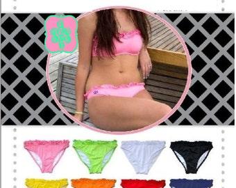 On Sale Monogram Ruffle Bottoms, Swimsuit Bottoms, Bikini Bottoms