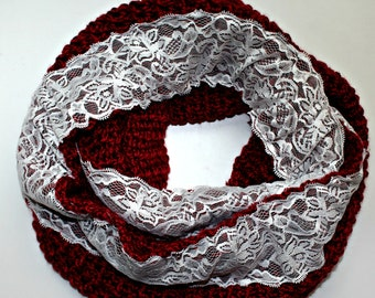 Isabelle Crochet Infinity Scarf Soft Burgandy Lace