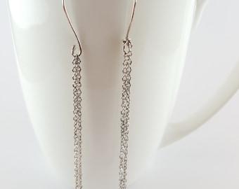 Sterling Silver long chain earrings
