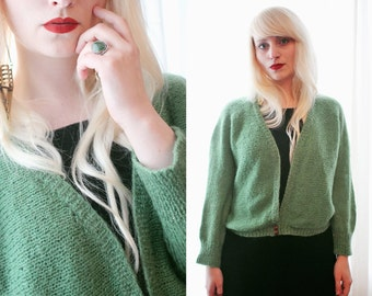 Classic Vintage green knitted cardigan sweater 1960s 1970s wool