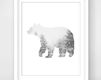 30% OFF SALE Winter Bear Print, Bear Art, Bear Wall Art, Bear, Printable Bear Art, Winter Bear Decor, Downloadable, Wall Print, Winter Print