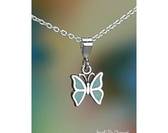 Sterling Silver Miniature Turquoise Butterfly Necklace or Pendant Only