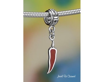 Sterling Silver Red Chili Pepper Charm or European Charm Bracelet .925