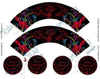 Personalized Music Cupcake Wrappers (Digital File Only)