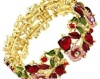 Vintage Floral Bangle in Bright Gold and Red