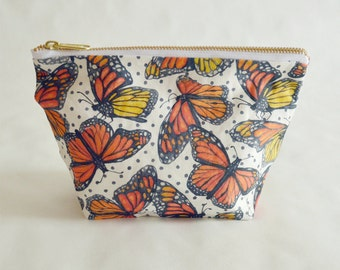 Monarch Butterfly Make Up Bag