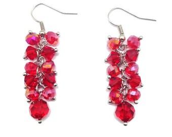 Red Crystal Earrings, Cluster Earrings, Crystal Earring, Crystal Dangle, Crystal Cluster, Dangle Earrings, Red Earrings, Red Dangle Earrings