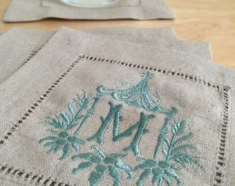 Monogrammed Linen Cocktail Napkins Set of 4- Fancy Pagoda with Single Initial Coasters, Monogrammed linens