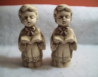 Vintage Wolin Chalkware Choir Boys - Set of 2 - Made in Japan
