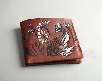 Leather Wallet «Fox in camomiles»