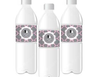 Wedding Shower Water Bottle Labels-Bridal Shower Favor Labels-Personalized Labels-Custom Shower Water Bottle Labels (set of 24)