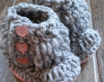 Grey Loopy Boots