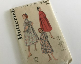 50s original Butterick pattern 7957 duster house coat size 14/bus 34