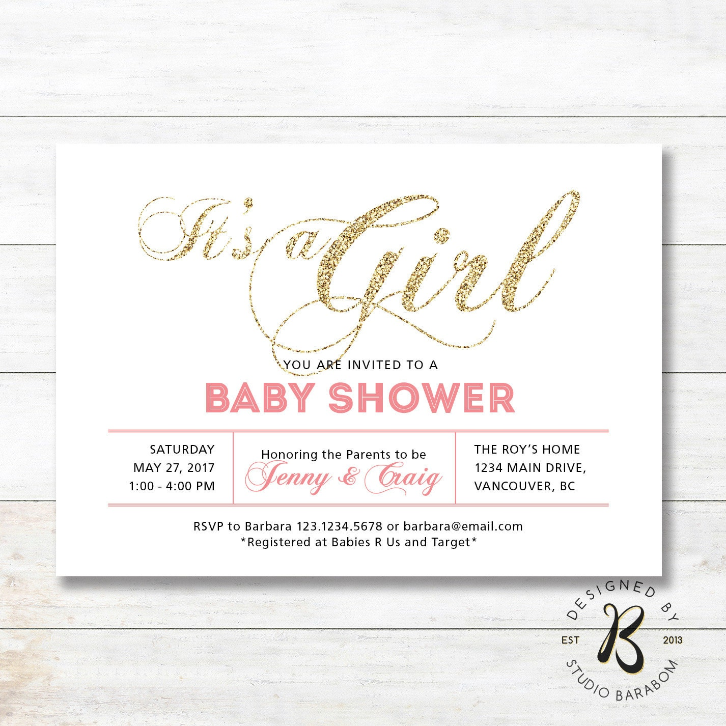 girl baby shower invitation coed couples baby shower