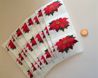 Mrs. Grossman's Vintage Christmas Poinsettia Flower Sticker Stickers Lot of 30 Mods from 1990