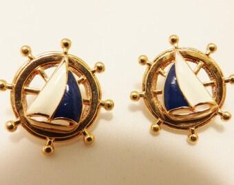 Gold Tone Nautical Ships Wheel Enamel Vintage Earrings