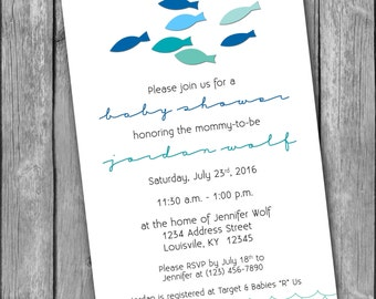 Fish Baby Shower Invitation   5x7   Printable PDF U0026 JPG
