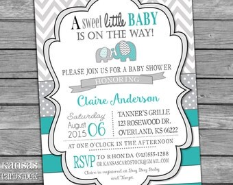 Elephant Baby Shower Invitation, Gender Neutral Baby Shower Invitation, Turquoise Gray Aqua Chevron
