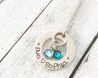 Children necklace - Hand stamped necklace - Family jewelry - Necklace with children's names - Personalized necklace - Heart necklace - Gift
