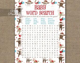 monkey word search game printable sock monkey baby shower games monkey baby shower decorations