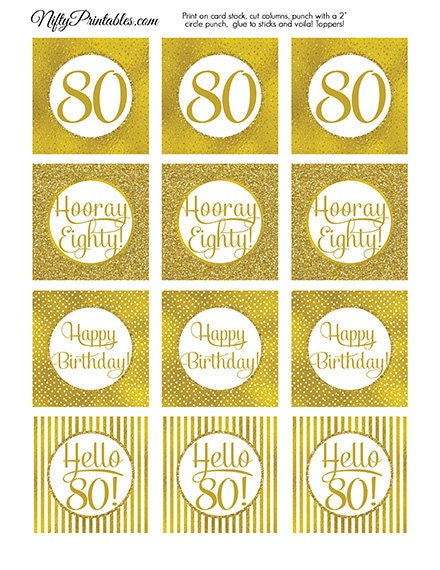 80th Birthday Cupcake Toppers Gold 80th Birthday Toppers