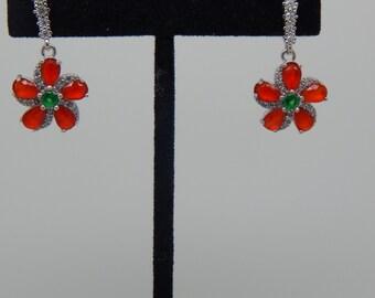 Ruby Emerald Earrings, Dangle Earrings, Gemstone Earrings, Red Green Earrings, Luxury Earrings, July Birthstone