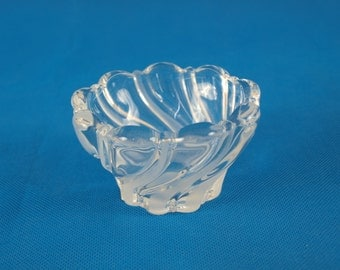 Mikasa crystal dish, candy dish, swirl frost and clear pattern