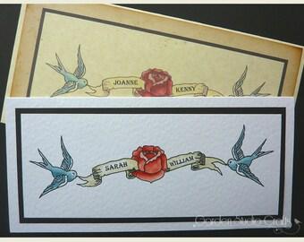 Tattoo Wedding Invitation, Vintage Wedding Invitation, Blue Bird Wedding Invitation, Quirky Wedding Invitation, Rockabilly, SAMPLE