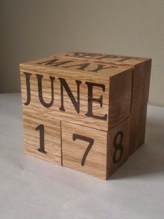 Wooden Office Gifts ~ Oak perpetual wood calendar unique office teacher retirement