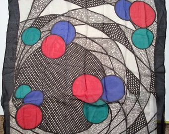 Vintage 1970s Mondrian/Modernist/Abstract Circle Chiffon Silk Scarf with Bright/Primary Colors/Mod