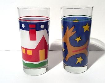 Vintage 1980s Marimekko-like Christmas Glass Tumblers, Primary Color Cool