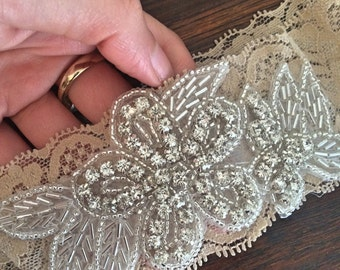 Embellished bridal garter - a unique handmade garter perfect for a bridal gift