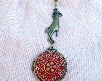 Enamel Locket Trinket Necklace