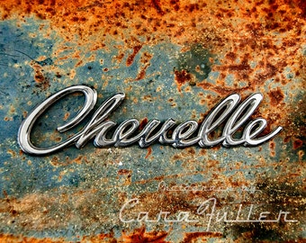 Chevelle Emblem on Rusty Blue Chevy Photograph