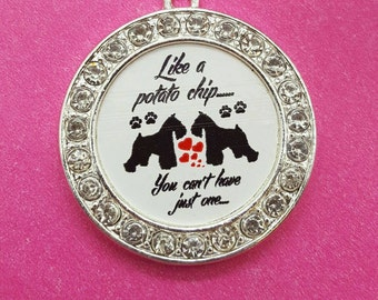 Like a potato chip you can't have just one Schnauzer Rhinestone  charm Pendant