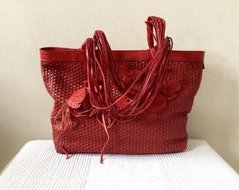 Vintage Chicos Red Leather Tote Shoulder Bag  Shopper Purse