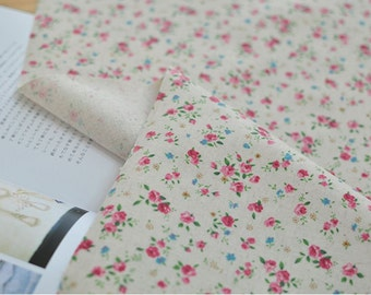 Laminated Linen Fabric Rose Natural By The Yard