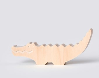 Natural Crocodile by One Two Tree- Miniature wooden toy - Australian Made